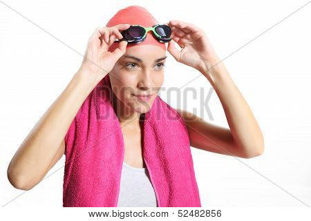 swimmer in orange bonnet