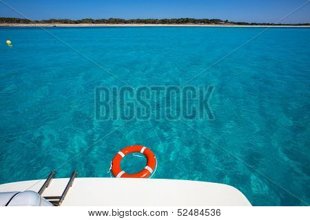 Formentera Illetes Illetas from boat stern buoy at Balearic Islands