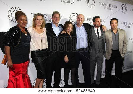LOS ANGELES - OCT 16:  CCH Pounder, C Dent, Kenny Johnson, Cathy & Shawn Ryan, Walton Goggins, Benito Martinez at the 2013 Paley Gala at Fox Studios Lot on October 16, 2013 in Century City, CA
