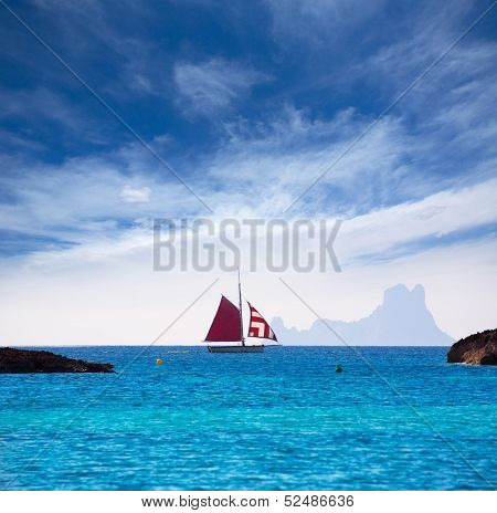Formentera from Illetes view of es Vedra Ibiza and sailboat at Balearic Islands