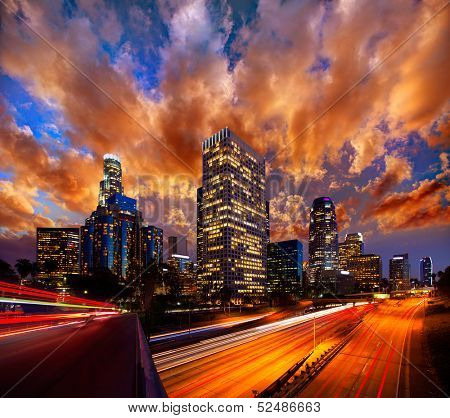 Downtown LA night Los Angeles sunset skyline California from 110 freeway  [ photo-illustration]