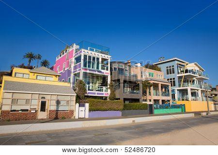 Santa Monica California beach colorful houses in USA