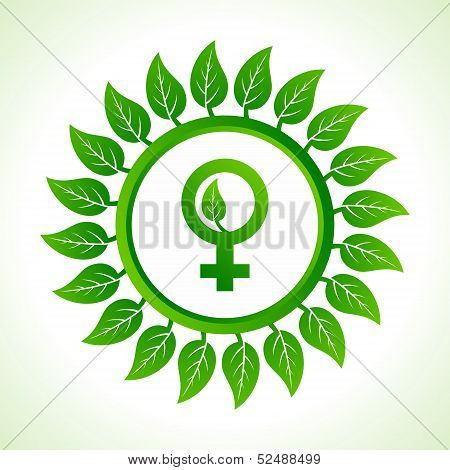 Eco female symbol inside the leaf background stock vector