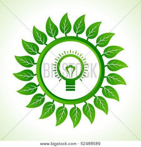 Eco bulb inside the leaf background stock vector