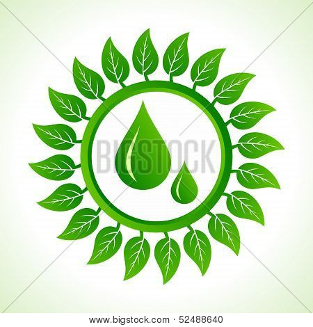 Water drops inside the leaf background stock vector