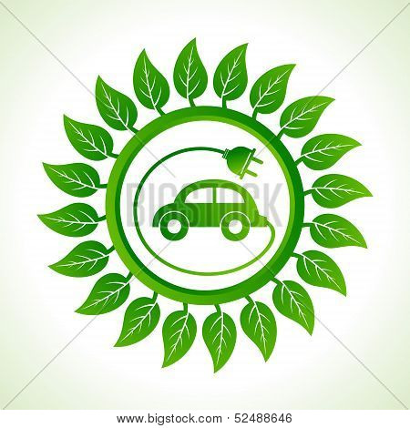Eco car inside the leaf background stock vector