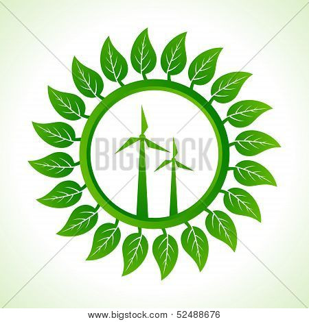 Eco wind mill inside the leaf background stock vector