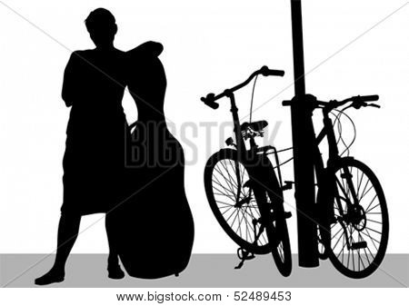 Vector drawing a girl with a cello and a bike.
