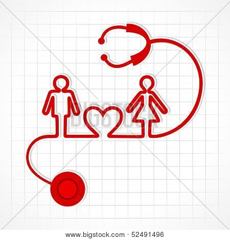 Stethoscope make male,female and heart symbol stock vector