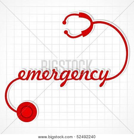 Stethoscope make emergency word stock vector