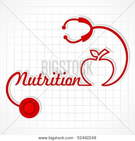 Stethoscope make nutrition word and apple stock vector