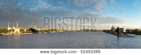Panorama Riga Old Town And The Daugava River