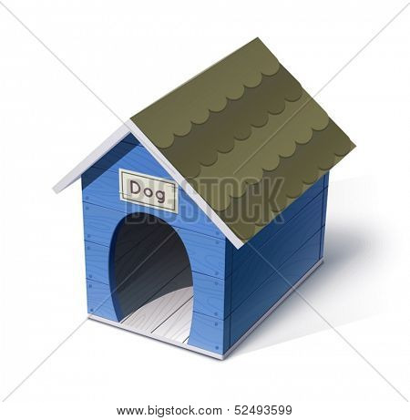 dog house vector illustration isolated on white background EPS10. Transparent objects and opacity masks used for shadows and lights drawing