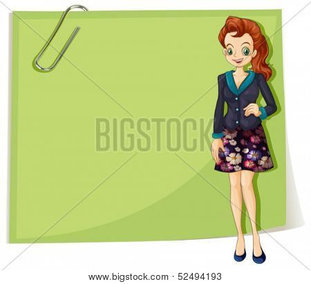 Illustration of a young business girl in front of the empty template on a white background