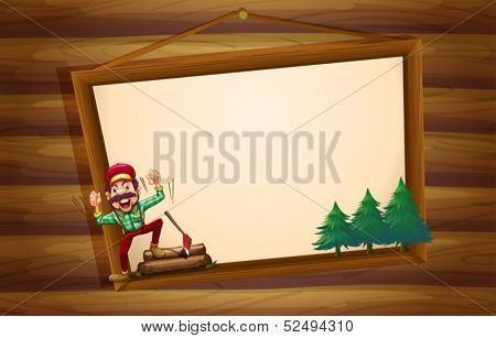 Illustration of a hanging wooden signboard with a woodman shouting