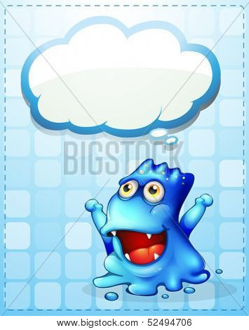 Illustration of a happy blue monster with an empty cloud callout