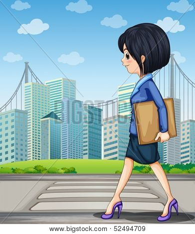 Illustration of a woman walking at the street near the pedestrian lane
