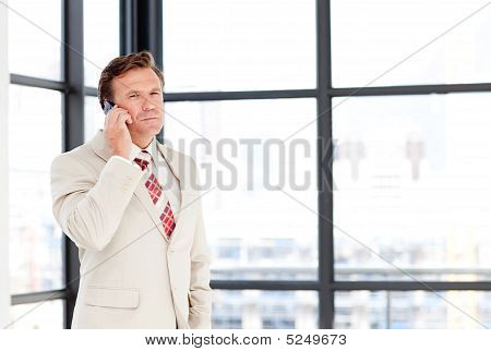 Senior Businessman On Phone With Copy-space