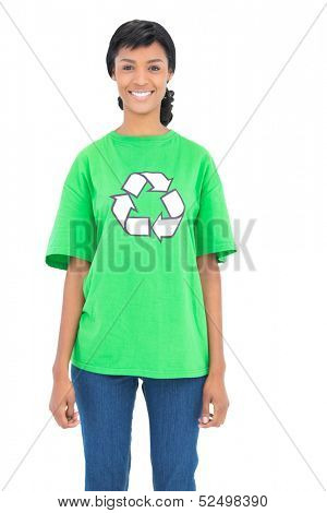 Pleased black haired ecologist posing looking at camera on white background