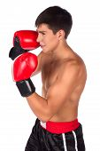 picture of kickboxing  - Young handsome male caucasian kickboxer wearing red boxing gloves and kickboxing gear isolated on a white background - JPG
