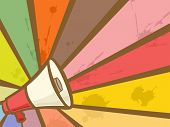 Colorful Illustration Featuring a Megaphone Framed by Rays of Different Colors