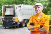 stock photo of dump  - Portrait of municipal worker recycling garbage collector truck loading waste and trash bin - JPG