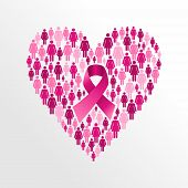 Breast Cancer Awareness Ribbon Women Heart Shape.