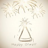Indian festival of lights, Happy Diwali greeting card with illustration of fire crackers on abstract