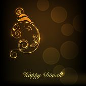 pic of lakshmi  - Shiny illustration of Hindu mythology Lord Ganesha on occasion of Indian festival of lights Happy Diwali - JPG