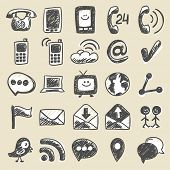 Hand drawn communication icons