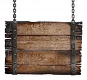 stock photo of chain  - old burnt wood sign board on chain - JPG