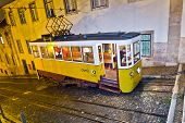 Lisbon At Night, Famous Tram, Historic Streetcar Is Running
