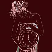 pic of emaciated  - Conceptual portrait of girl in bed with big clock - JPG