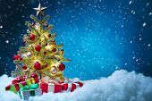 picture of golden  - Christmas tree with decorations - JPG