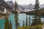 Moraine Lake, a glacially-fed lake in Banff National Park, Alberta, Canada, situated in the Valley o
