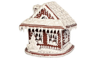foto of gingerbread house  - Gingerbread House on white background  - JPG