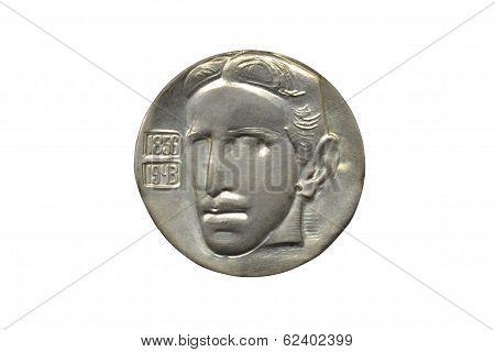 Silver Tesla medallion