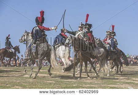 French Soldiers On Horseback Attacking Enemy Troops In The Commemoration Of The Battle Of Bailen, Ja