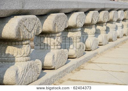 Octagonal Banister Pillars Of Yeongje Bridge In Gyeongbok Palace In Seoul