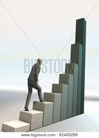 Man Climbs Up On Financial Diagramme