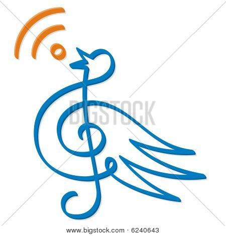 Treble clef bird