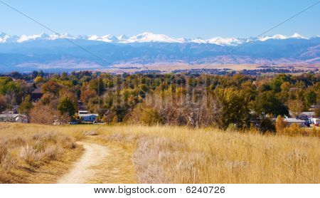 Little Path With View Of Snowy Mountains