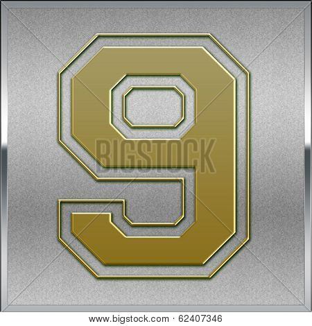 Gold On Silver Number 9 Position, Place Sign