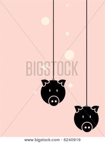 Pig Head Black And Pink Background