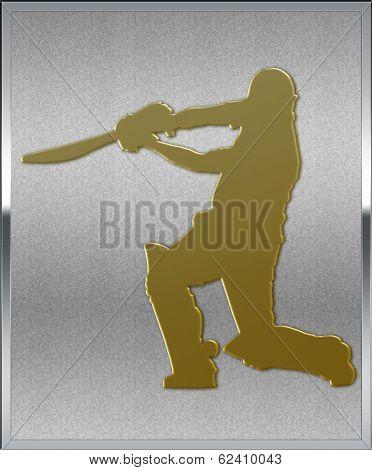 Gold On Silver Cricket Batsman Sport Emblem