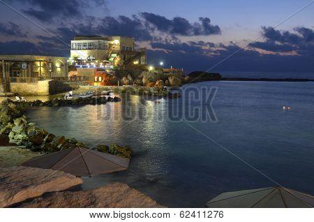 Caesarea Harbor And The Mediterranean