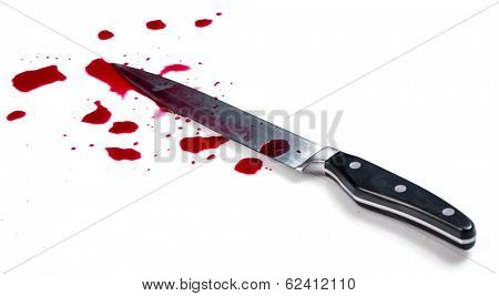 Murder. Knife in pool of blood