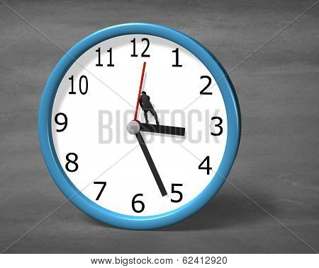 Man Pushing Clock Hand