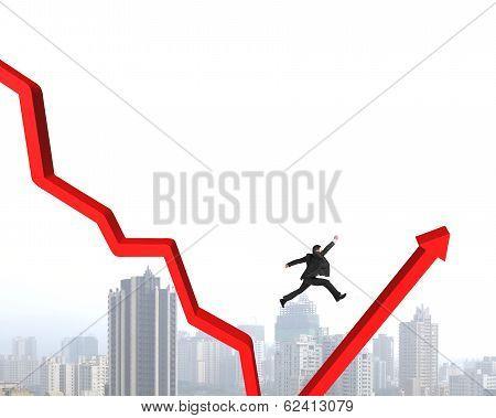 Man Jumping Red Arrow