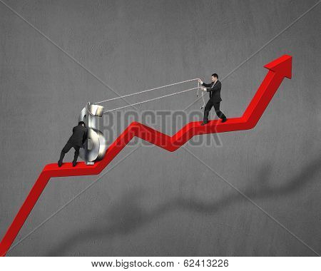 Cooperating To Move Up Money Symbol On Red Arrow
